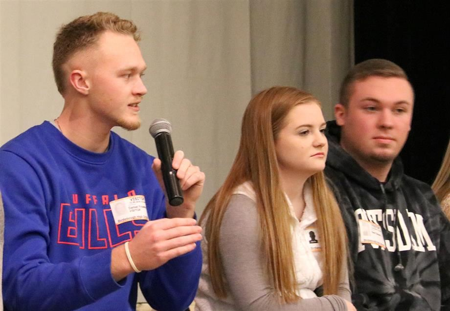 Dan Frawley, Hannah Grabowski and Sean Sievers serve as panelists during a recent trip back to jcb