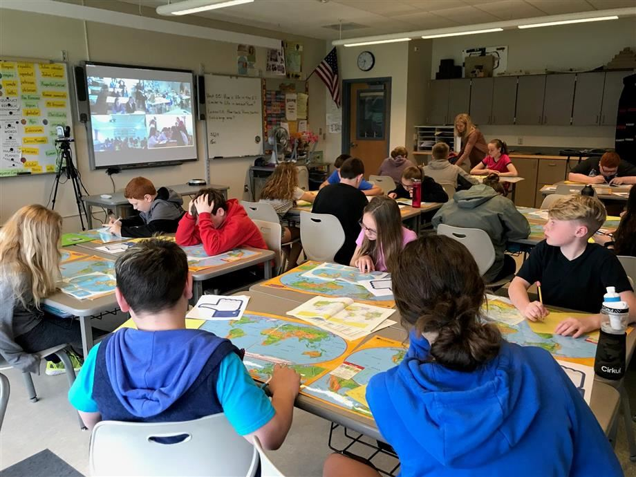 EJD students participate in a Mystery Skype distance learning opportunity.