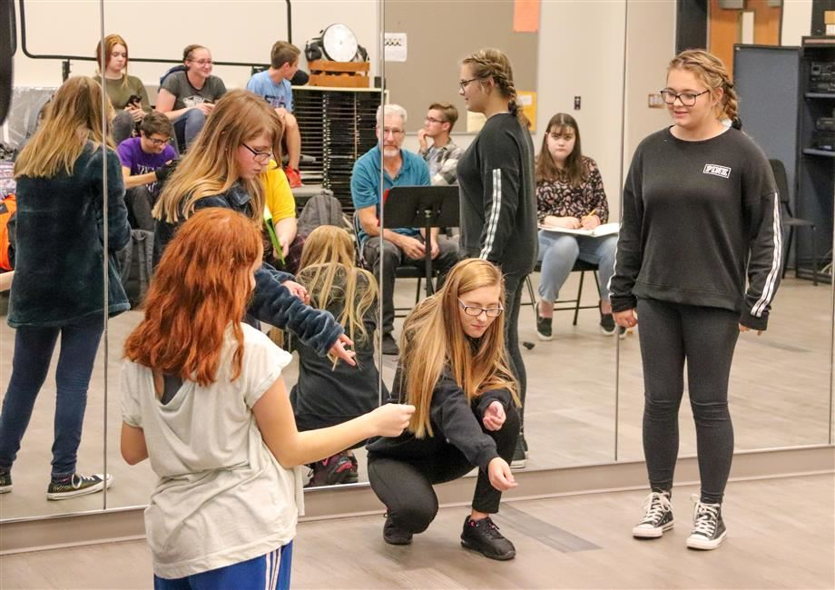 JCB students rehearse for the fall improv performance.
